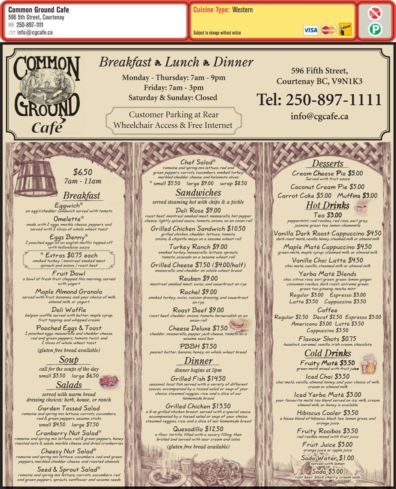 menu Common Ground Café