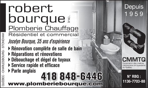 Robert bourque inc plomberie r novation salle de bain for Plomberie salle de bain