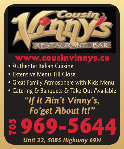 Cousin Vinny's Restaurant & Bar (705-969-5644) - Display Ad -