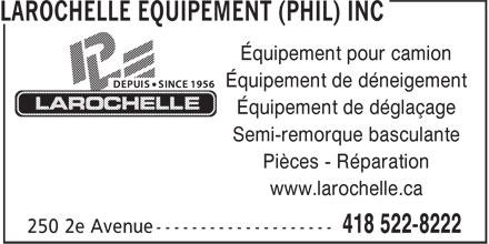 larochelle equipement phil inc 250 2e av qu bec qc. Black Bedroom Furniture Sets. Home Design Ideas