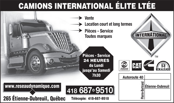 camions international elite ltee in quebec. Black Bedroom Furniture Sets. Home Design Ideas
