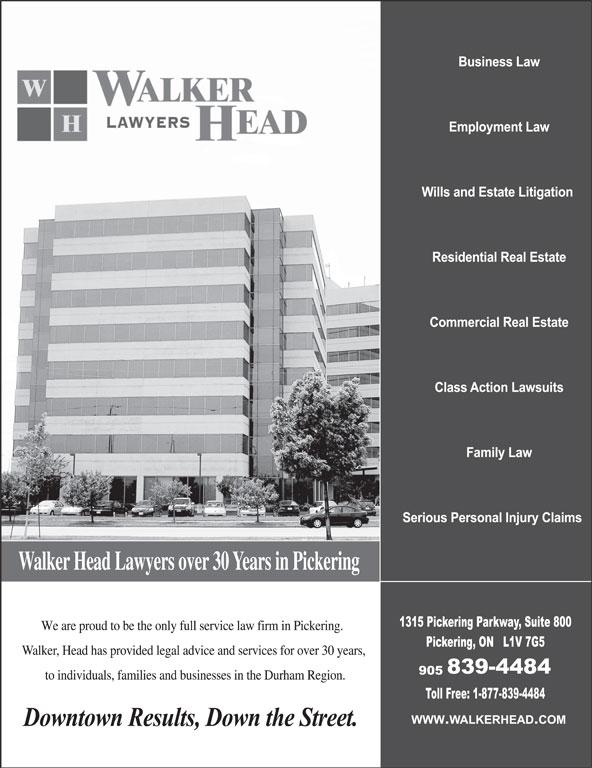 Walker Head Lawyers (905-839-4484) - Annonce illustrée======= -