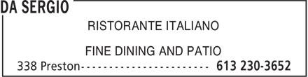 Da Sergio (613-230-3652) - Display Ad - RISTORANTE ITALIANO FINE DINING AND PATIO