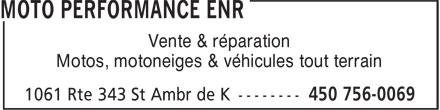 Moto Performance Enr (450-756-0069) - Display Ad - Vente & réparation Motos, motoneiges & véhicules tout terrain