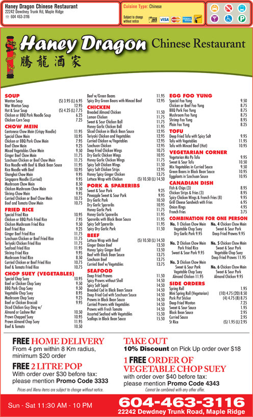 Chinese Food Delivery Pitt Meadows