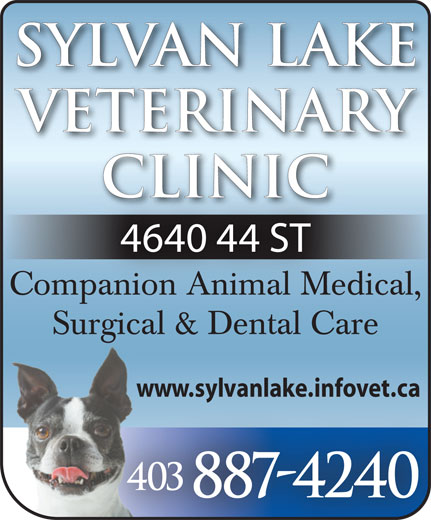 Sylvan Lake Veterinary Clinic (403-887-4240) - Annonce illustrée======= - Sylvan LakeSylvan Lake VeterinaryVeterinary ClinicClinic 4640 44 ST Companion Animal Medical,mpanion Animal Med Surgical & Dental Care www.sylvanlake.infovet.ca 403 887-4240