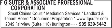 F G Suter & Associate Professional Corporation (905-639-5442) - Annonce illustrée======= -