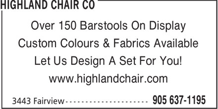 Highland Chair Co (905-637-1195) - Annonce illustrée======= - Over 150 Barstools On Display Custom Colours & Fabrics Available Let Us Design A Set For You! www.highlandchair.com