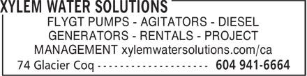 Xylem Water Solutions (604-941-6664) - Annonce illustrée======= - FLYGT PUMPS - AGITATORS - DIESEL GENERATORS - RENTALS - PROJECT MANAGEMENT xylemwatersolutions.com/ca