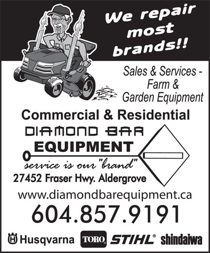 Diamond Bar Equipment (604-857-9191) - Annonce illustrée======= - www.diamondbarequipment.ca