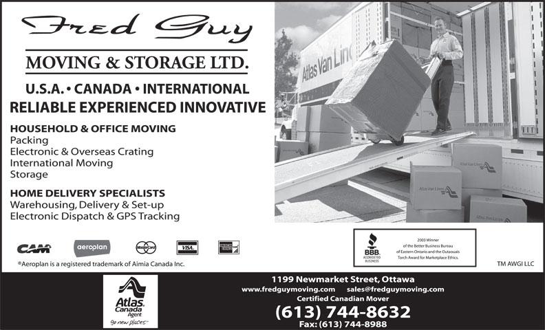 Fred Guy Moving & Storage Ltd (613-744-8632) - Annonce illustrée======= -