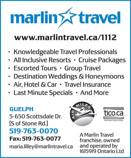 Marlin Travel (519-763-0070) - Annonce illustrée======= -