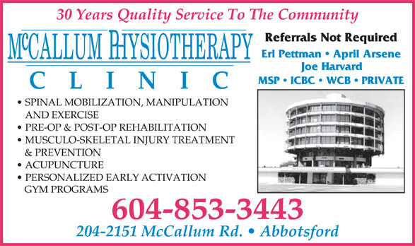 McCallum Physiotherapy Clinic (604-853-3443) - Annonce illustrée======= -