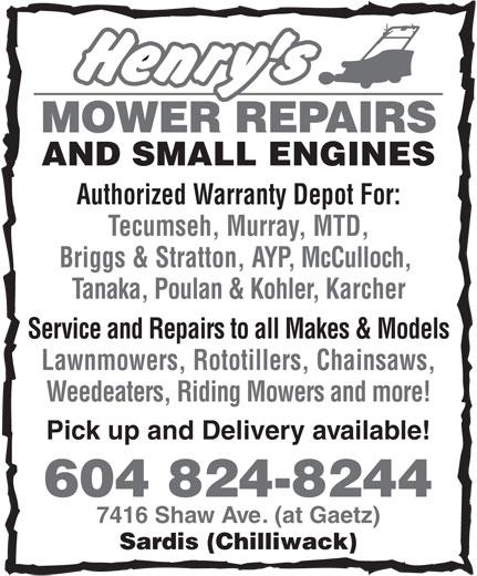 Henry S Mower Repair Chilliwack Bc 7416 Shaw Ave