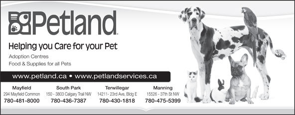 Petland (780-436-7387) - Annonce illustrée======= - Adoption Centres Food & Supplies for all Pets +'D)-4:S9$Pk&s(+'D)-4:S9$Pk&s(+'D)-4:S9$Pk&s(+'D)-4:S9$Pk&s(+'D)-4:S9$Pk&s(+'D www.petland.ca   www.petlandservices.ca South Park Terwillegar ManningMayfield 150 - 3803 Calgary Trail NW 14211- 23rd Ave, Bldg E 15526 - 37th St NW294 Mayfield Common 780-436-7387 780-430-1818 780-475-5399780-481-8000 Helping you Care for your Pet