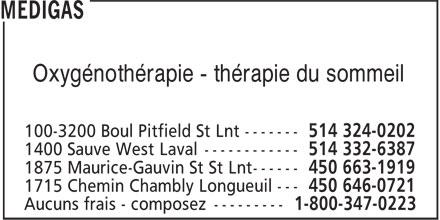 Medigas (514-324-0202) - Display Ad - Oxygénothérapie - thérapie du sommeil