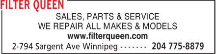 Filter Queen (204-775-8879) - Annonce illustrée======= - SALES, PARTS & SERVICE WE REPAIR ALL MAKES & MODELS www.filterqueen.com
