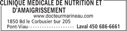 Clinique Médicale de Nutrition et d'Amaigrissement (450-686-6661) - Annonce illustrée======= - www.docteurmarineau.com