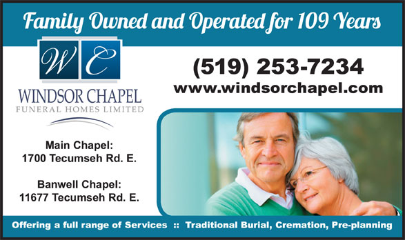 Windsor Chapel Funeral Home (519-253-7234) - Display Ad -