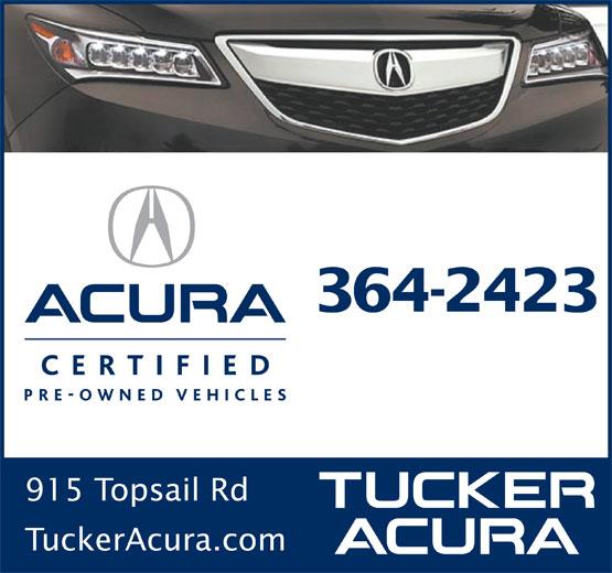 Tucker Acura Auto Sales Ltd (709-364-2423) - Display Ad - 915 Topsail Rd 364-2423 TuckerAcura.com