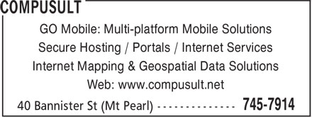 PODS Tender Delivery Service Provided by Compusult (709-745-7914) - Display Ad - GO Mobile: Multi-platform Mobile Solutions Secure Hosting / Portals / Internet Services Internet Mapping & Geospatial Data Solutions Web: www.compusult.net