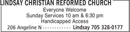 Jennings Creek Christian Reformed Church (705-328-0177) - Display Ad - Everyone Welcome Sunday Services 10 am & 6:30 pm Handicapped Access