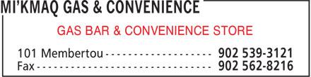 Mi'Kmaq Gas & Convenience (902-539-3121) - Display Ad - GAS BAR & CONVENIENCE STORE