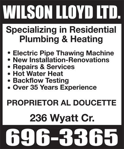 Wilson Lloyd Ltd (506-696-3365) - Display Ad -
