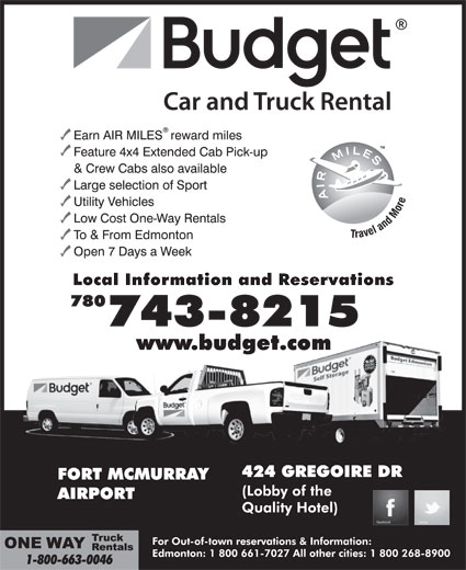 Budget Car and Truck Rental (780-743-8215) - Display Ad -