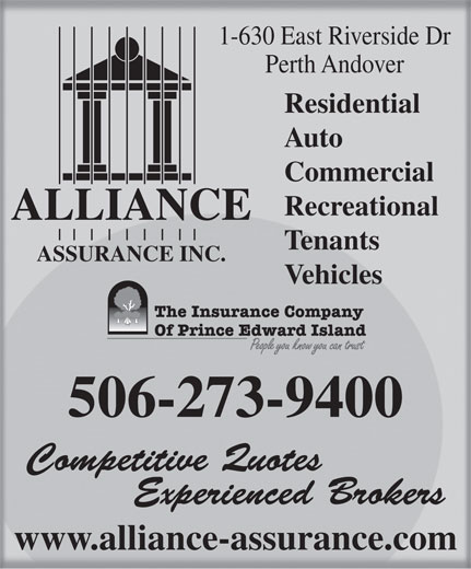 alliance assurance 1 630 east riverside dr perth andover nb. Black Bedroom Furniture Sets. Home Design Ideas