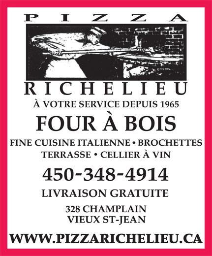 Restaurant Pizza Richelieu (450-348-4914) - Annonce illustrée======= - À VOTRE SERVICE DEPUIS 1965 WWW.PIZZARICHELIEU.CA