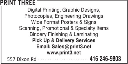 Print Tree (416-246-9803) - Annonce illustrée======= - Wide Format Posters & Signs Scanning, Promotional & Specialty Items Bindery Finishing & Laminating Pick Up & Delivery Services www.print3.net Digital Printing, Graphic Designs, Photocopies, Engineering Drawings