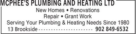 McPhee's Plumbing & Heating Ltd (902-849-6532) - Annonce illustrée======= - New Homes • Renovations Repair • Grant Work Serving Your Plumbing & Heating Needs Since 1980