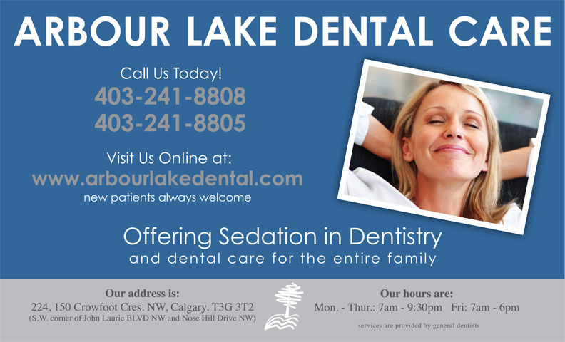Arbour Lake Dental Care (403-241-8808) - Display Ad -