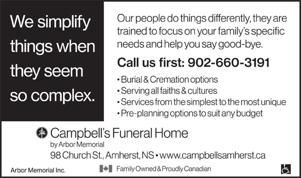 Campbell's Funeral Home (902-660-3191) - Display Ad -