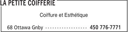 Salon De Coiffure La Petite Coifferie (450-776-7771) - Annonce illustrée======= - Coiffure et Esthétique