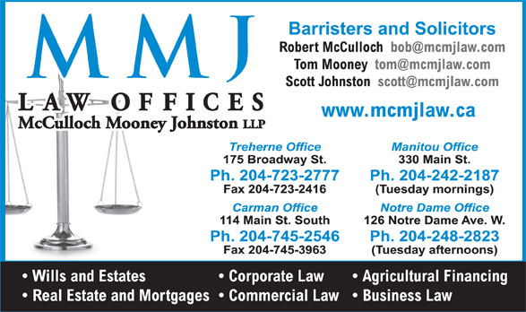 McCulloch Mooney Johnston Selby (204-723-2777) - Display Ad -