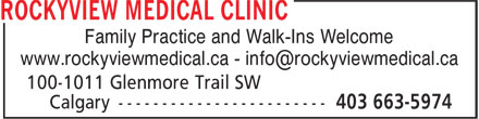 Rockyview Medical Clinic (403-663-5974) - Display Ad - Family Practice and Walk-Ins Welcome