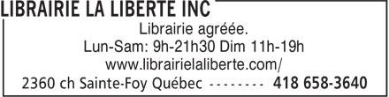 Librairie La Liberté Inc (418-658-3640) - Annonce illustrée======= -