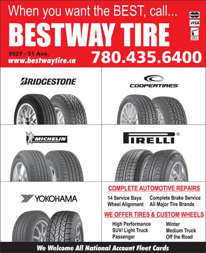 Bestway Tire Ltd (780-435-6400) - Annonce illustrée======= -