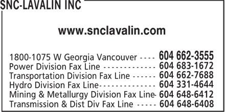 SNC-Lavalin Inc (604-662-3555) - Display Ad - www.snclavalin.com 604 648-6408 Transmission & Dist Div Fax Line ----- www.snclavalin.com 604 648-6408 Transmission & Dist Div Fax Line -----