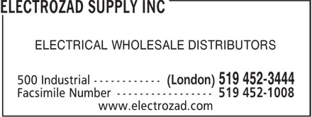 Electrozad Supply Inc (519-452-3444) - Display Ad - ELECTRICAL WHOLESALE DISTRIBUTORS