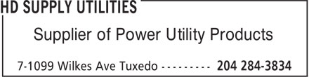 HD Supply Utilities (204-284-3834) - Annonce illustrée======= - Supplier of Power Utility Products