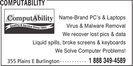 ComputAbility (1-855-837-7032) - Annonce illustrée======= - Name-Brand PC's & Laptops Virus & Malware Removal We recover lost pics & data Liquid spills, broke screens & keyboards We Solve Computer Problems!