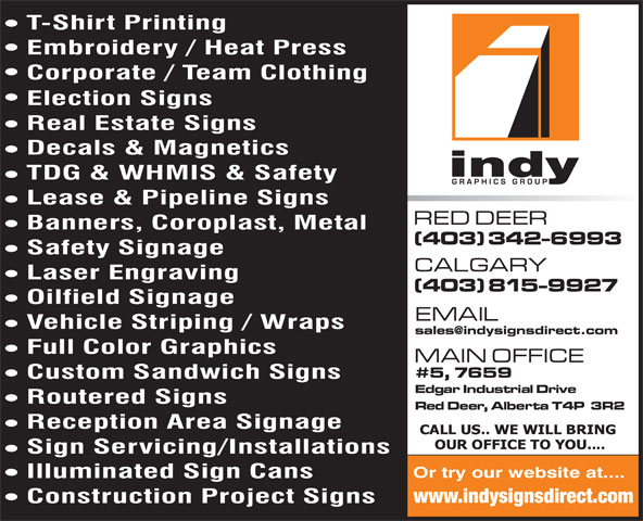 Indy Graphics Group (403-342-6993) - Annonce illustrée======= - www.indysignsdirect.com