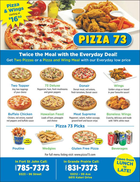 Pizza 73 (780-831-7373) - Annonce illustrée======= -