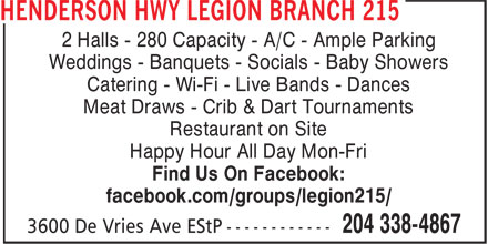 Ads Henderson Hwy Legion Branch 215