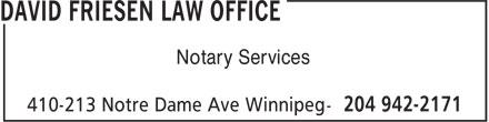 David Friesen Law Office (204-942-2171) - Annonce illustrée======= - Notary Services