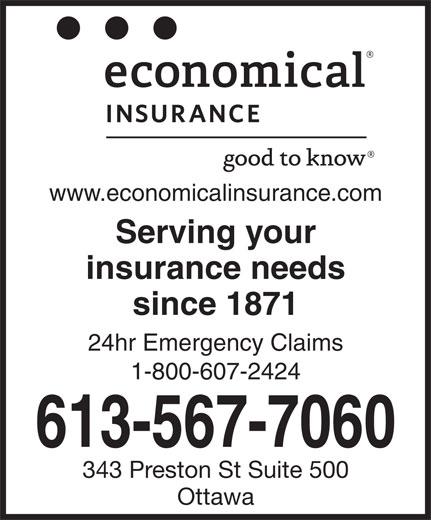 Le Groupe D'assurance Economical (613-567-7060) - Annonce illustrée======= - www.economicalinsurance.com Serving your insurance needs since 1871 24hr Emergency Claims 1-800-607-2424 613-567-7060 343 Preston St Suite 500 Ottawa