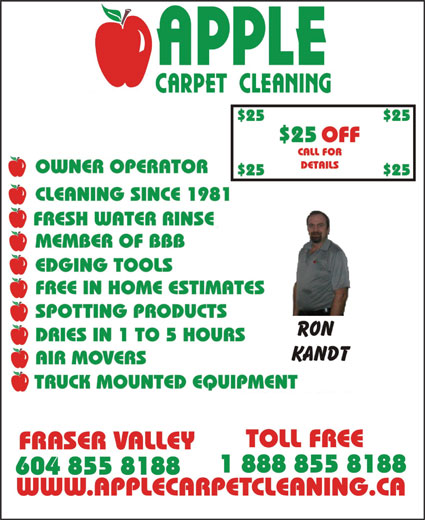 Apple Carpet Cleaning BC Ltd (604-855-8188) - Display Ad -